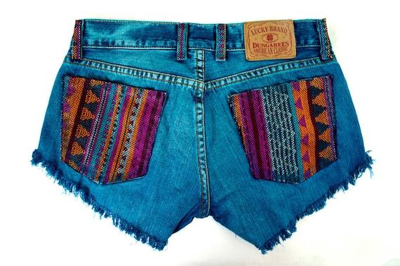 Tribal Aztec Navajo Southwestern Ethnic Print Teal Blue Dyed Handmade Denim Destroyed Distressed Boho Coachella Hipster Cut Offs Shorts