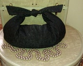 RESERVED- Vintage Inspired Black Matelasse Retro Tie Purse w/ Satin Lining (Regular Size)