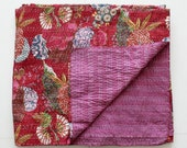Queen Sized Quilt in Darker Red and Pink