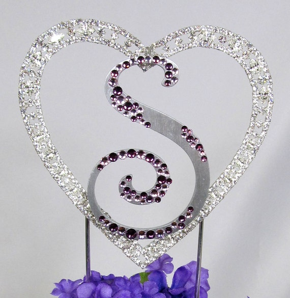 monogram wedding cake toppers with swarovski crystals swarovski monogram cake topper with by 17528