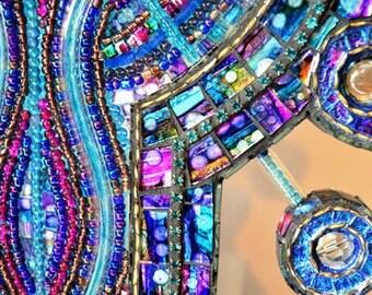 Mosaic art, mosaic sculpture & neon Lamp - Unfolding Vision