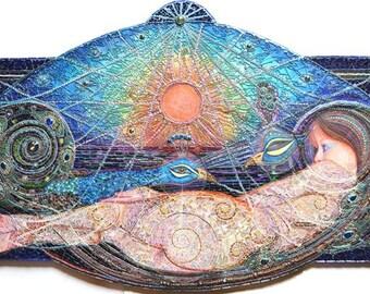 SOLD - Masquerade, mixed media mosaic, peacock, mosaic - SOLD