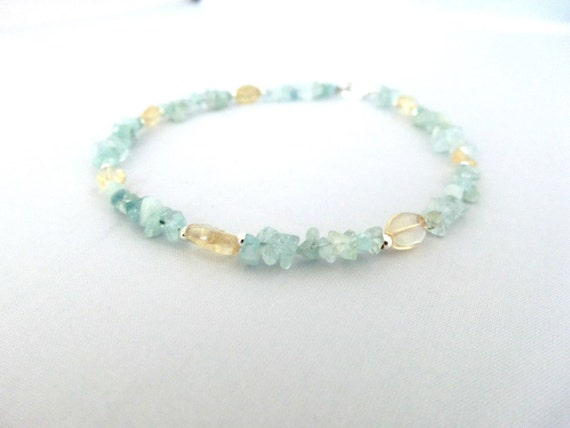 Aquamarine chips with citrine stone anklet by Annake Designs FREE SHIPPING