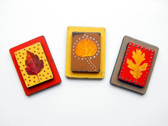 ON SALE!-Set of 3-Nature Magnets, Stocking Stuffers, Gift Under 20, Gift For Dad, Teacher Gift, Office Decor, Magnets, Pressed Leaves
