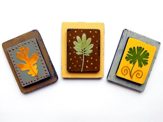 PRESSED LEAF MAGNETS-(sm)-reclaimed wood-pastel yellow, sage green, brown