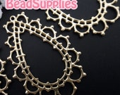 CH-ME-02121- 14k Gold plated, Lace teardrop pendants, 4 pcs
