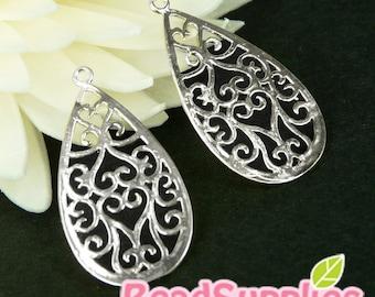CH-ME-09138 - Matted Silver plated, Art Nouveau Filigree teardrop , 4 pcs
