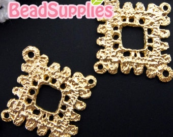 CH-ME-02122-   Gold plated, Lace charm/connector, diamond , 4 pcs