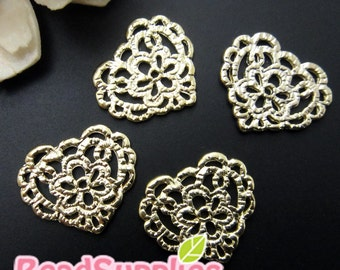CH-ME-02138- 14k Gold plated, Lace charm - heart, 6 pcs