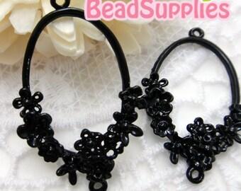 CH-ME-01207 - Nickel Free, black enameled, Ring of Daisy charm, 4 pcs