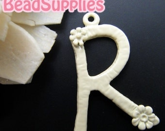 CH-ME-01269- Nickel Free, Off white enameled, Flower Alphabet - R , 2 pcs