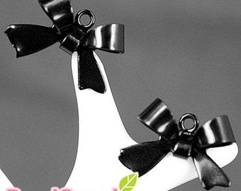 CH-ME-01105- Nickel Free Colored Enameled ribbon charm, black, 12 pcs