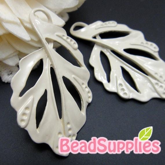 CH-ME-01216- Nickel Free, Off white enameled, Elegant Leaf, 4 pcs