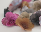 24 iridescent organza flowers - great for crafting and sewing FREE SHIPPING