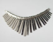 Necklace Statement Piece - Silver Plated Brass Fanned Design - Necklace Connector