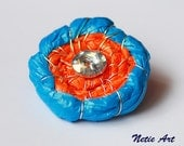 Blue and orange flower brooch - recycle art - hand made eco friendly flower brooch from recycled carrier bag