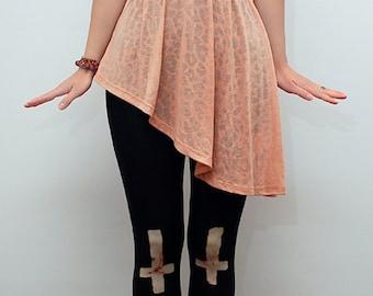 Black eco friendly full length leggings with crosses motif