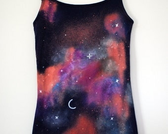 Hand painted galaxy stars city at night customize vest top
