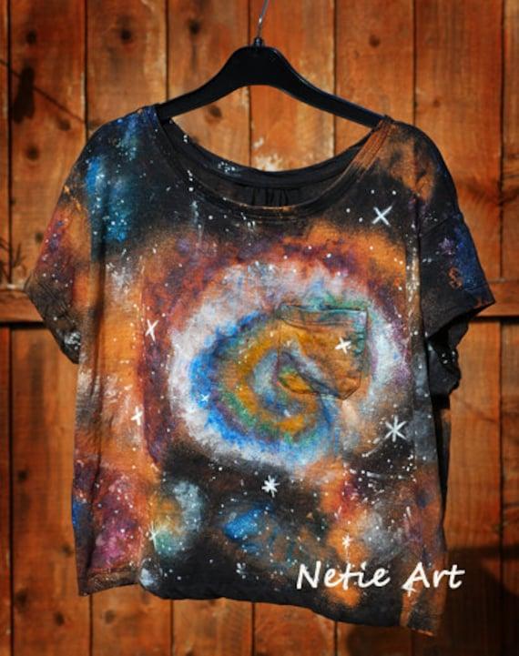 Hand painted galaxy nebula space universe stars oversized top t shirt