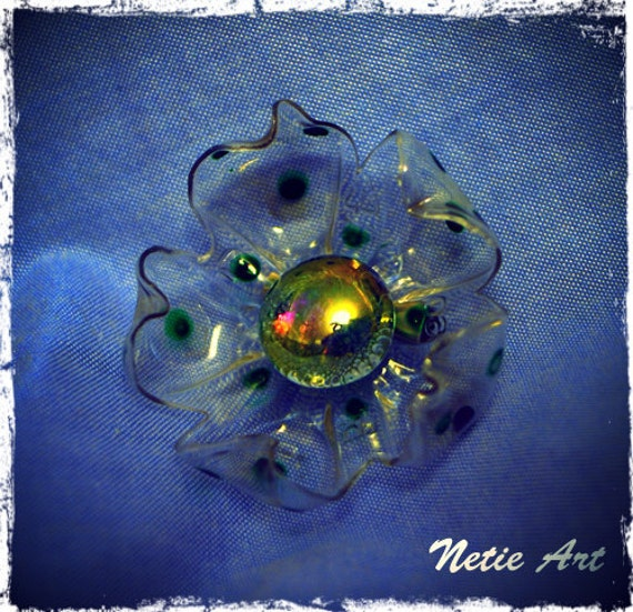 Spring dots - recycle art - hand made eco friendly flower brooch