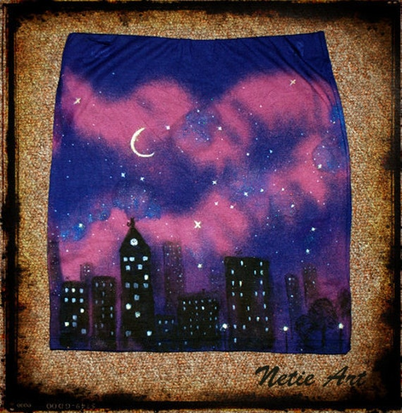 Hand painted nebula galaxy stars universe milky way cosmic mini skirt size M