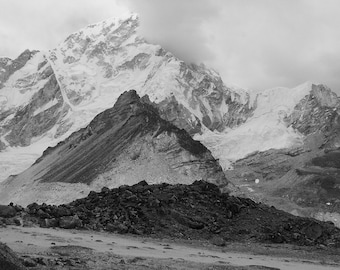 Himalaya Mountain Landscape Photography , home decor , wall art , Himalaya - Nuptse , black and white -  Cold Beauty , 8 x 12
