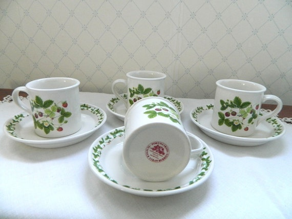 Portmeirion Summer Strawberries Demitasse Cups set of 4
