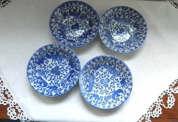 Four Vintage Phoenix Bird Fruit Bowls