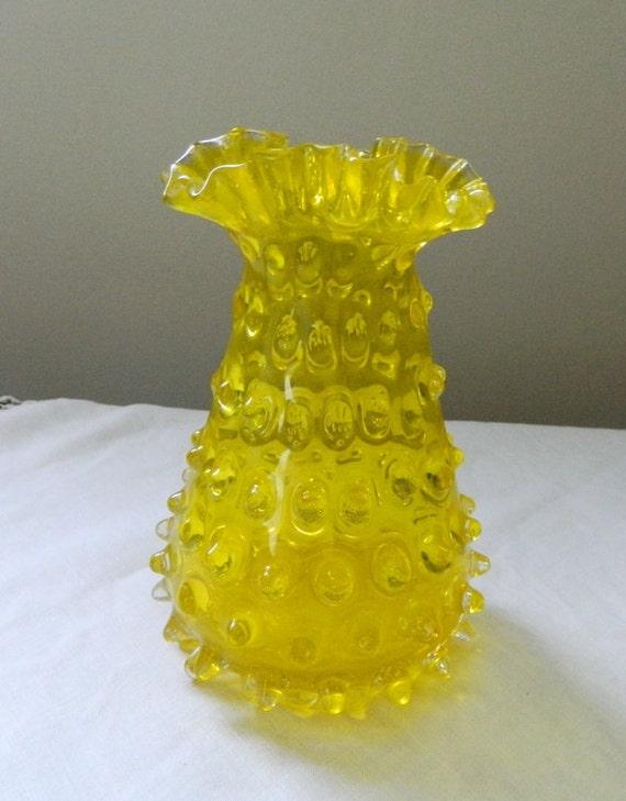 Vintage Canary Yellow Ruffled Hobnail Glass Vase