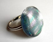 Silver fused glass adjustable sterling ring