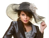 Couture WID BRIMMED HAT.Kentucky hat /  Derby hat/ Wedding Fascinator /