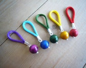 LARGE flexible knitting stitch markers - Set of 5 (Rainbow)