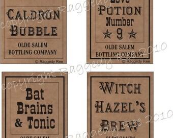 Halloween Bottle Labels, Halloween decor, printable labels, Halloween party, spell bottles, instant print