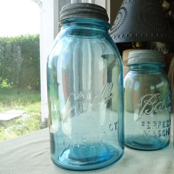 large mason Jar, half gallon Blue Ball Perfect Mason, blue canning jar, vintage kitchen storage