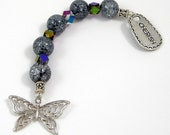 Gratitude Beads, Butterfly with Gray Crackle Beads