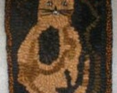 Primitive Folkart Scrappy Cat, Flowers & Hit or Miss Hooked Rug  PATTERN  PDF Format, BeaconHillCollectibles Hooked Rug Scrappy Cat Pattern
