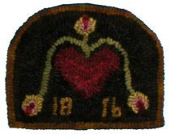 1816 Hearts & Rose Buds, Primitive Folkart Hooked Rug  BeaconHillCollectibles Hooked Rug Hearts