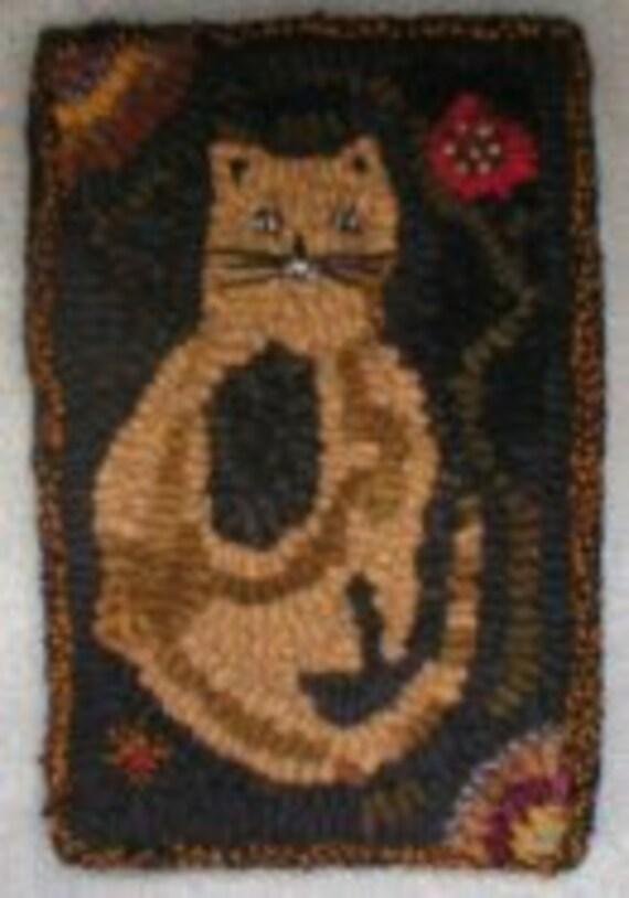 Primitive Folkart Scrappy Cat, Flowers & Hit or Miss Hooked Rug  PATTERN  PDF Format, BeaconHillCollectibles Hooked Rug Scrappy Cat Pattern