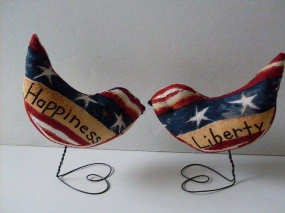Stars & Stripes Americana Love Birds Cake Toppers Decorations