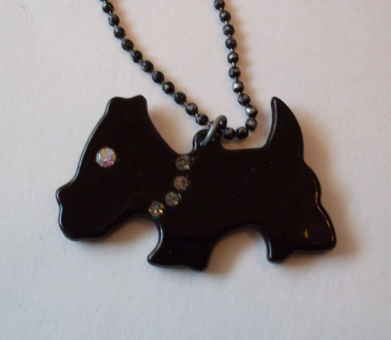 Vintage Scottie Dog with Rhinestone Collar Necklace  Beacon Hill Collectible Jewelry