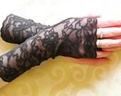 Fingerless  lace Goth Gloves: Black, Punk, Vampire, Victorian, Alternate Wedding, Steampunk, Lace cuffs