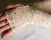 Lace Fingerless Gloves:  French, Ivory lace gloves, Wedding, Prom, Bridal ,Gloves, Victorian, Vampire,Cuff, Altered couture, Steampunk