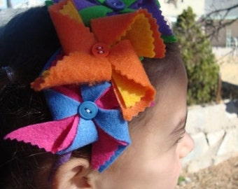 Felt pinwheel headband, hand made, multicolors