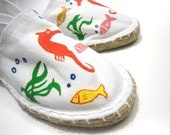 """Canvas shoes in white, hand painted with """"Underwater"""" scene - EU size 36 / UK size 3.5 / US size: 6"""