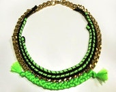 Neon cords woven necklace in bright green and black