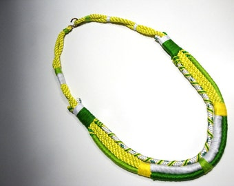 Ethnic rope necklace in shades of green and yellow