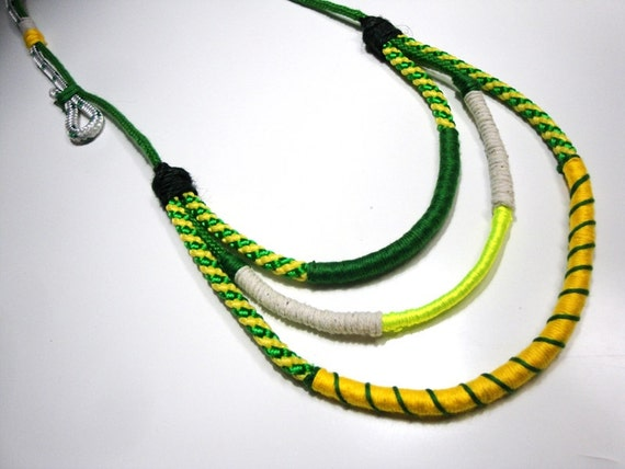 Ethnic rope necklace and a bit of neon shine