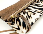 Reserved for Marggie - Distressed Brown Lambskin and Silk Leopard Clutch