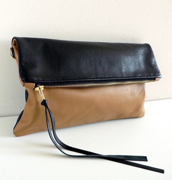 Tan and Black Leather Clutch with Detachable Strap