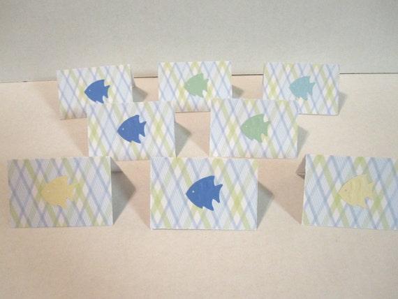 Fish Mini Note Cards Set of 12 Blue Plaid